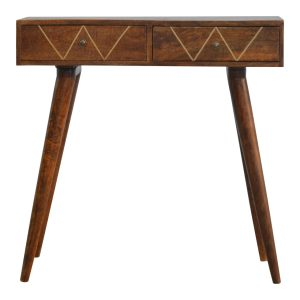 2 Draw Console Table with Geometric Gold Wiring