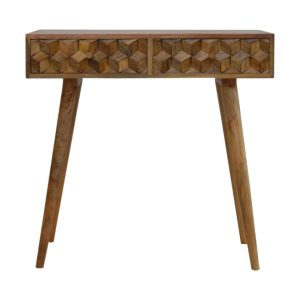 The main feature of this console table is the carved cube drawer fronts which make the pieces from this collection stand out. It has been constructed from 100% solid mango wood in an oak-ish finish, provides extra storage for any belongings and stands on 4 Nordic style legs. It can be partnered with the other pieces from the range or stand individually as its style is versatile and can fit into different types of interiors.