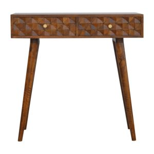 Carved Console Table with Chestnut Diamond Draws