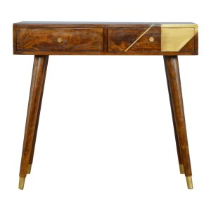 Chestnut Console Table with 2 Draws with Gold Geometric Inlay