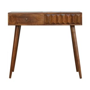 Chestnut Console Table with Prism Design