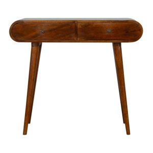 Chestnut Curved Console Table