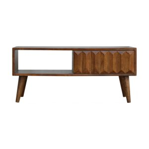 Chestnut Prism Coffee Table with Sliding Door