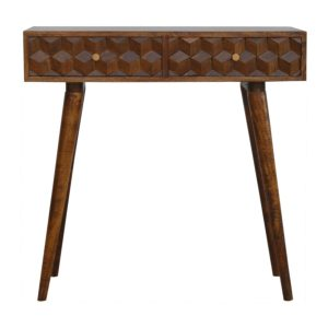Chestnut Console Table with Two Carved Draws