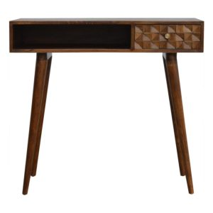 Writing Desk with Chestnut Diamond Carved Draw