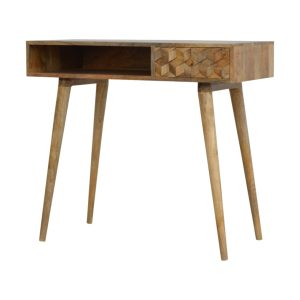 Oak Style Writing Desk with Carved Single Draw