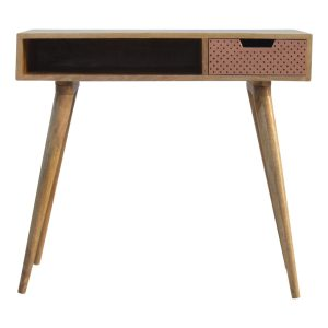 Oak Writing Desk with Perforated Draw