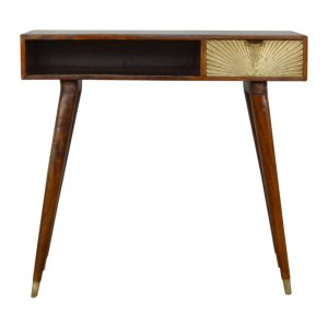 Writing Desk with Sunrise Gold Carved Draw