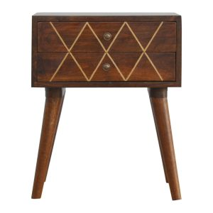Bedside Cabinet with Brass Inlay