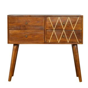 Console Table with Geometric Inlay