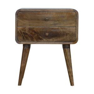 Curved Wash-Finished Bedside Table with 2 Drawers