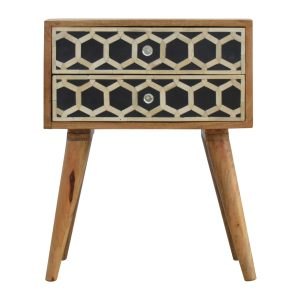 Bedside Table with Bone Inlay & 2 Drawers