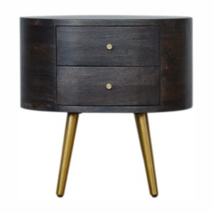 Ash Black Bedside Table with Brass Legs