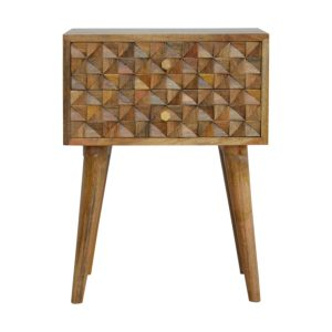Bedside Table with 2 Diamond Carved Drawers