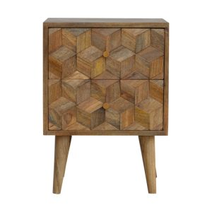 Bedside Table with 2 Drawers & Cube Carving