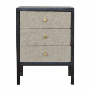 Bedside Table with 3 Faux Leather Drawers