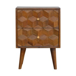 Bedside Table with Chestnut Finish & Cube Carved Drawers