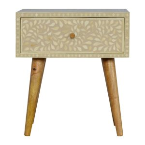 Bedside Table with Floral Bone Inlay Drawer