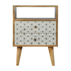 Bedside Table with Geometric Screen Printed Design