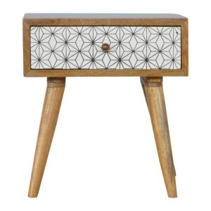 Hand Crafted Solid Wood with Geometric Print