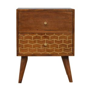 Bedside Table with Gold Art Pattern & 2 Drawers