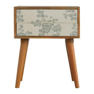 Bedside Table with Green Floral Screen Print
