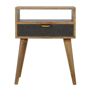 Bedside Table with Grey Tweed and Open Slot