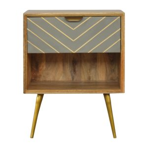 Bedside Table with Cement Inlay