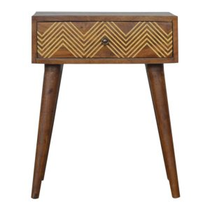 Chestnut Bedside Table with Brass Inlay Chevron Drawer