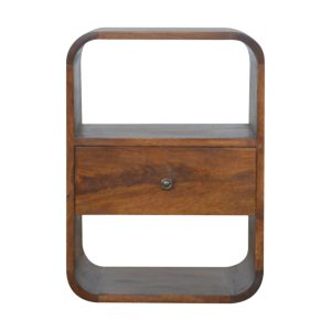 Chestnut Bedside Table with Curved Edge