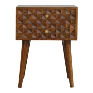 Chestnut Bedside Table with Diamond Carved Drawers