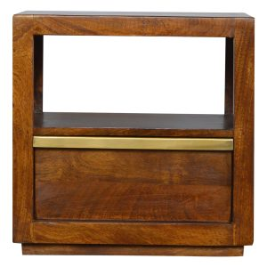 Chestnut Bedside Table with Gold Bar Handle
