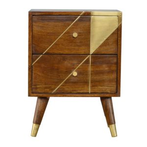Chestnut Bedside Table with Gold Geometric Design