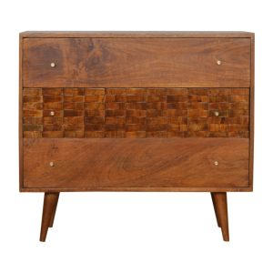 Chestnut Chest of Drawers with Tiled Carving