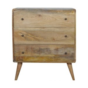 Curved Oak-Style Chest with 3 Drawers