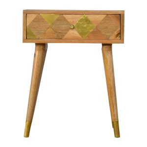 Oak-Style Bedside Cabinet with Gold Brass Inlay & 1 Drawer