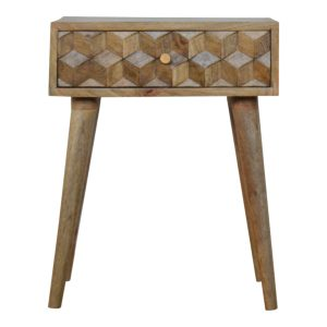 Hand Crafted Solid Wood Furniture with Cube Pattern