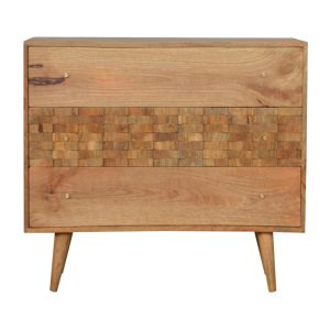 Oak-Style Chest of Drawers with Tile Carved Drawer