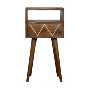 Petite Bedside Table with Geometric Brass Inlay