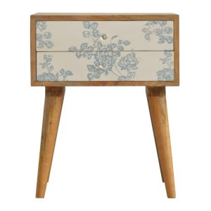 Bedside Table with Blue Floral Screen Print