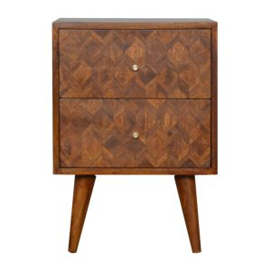 Chestnut Bedside Table with 2 Drawers