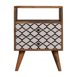 Bedside Table with 2 Printed Drawers & Open Slot