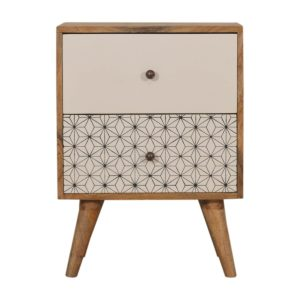 Bedside Table with Geometric 2 Tone Screen Print