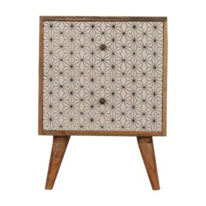 Bedside Table with Geometric Screen Printed Drawers