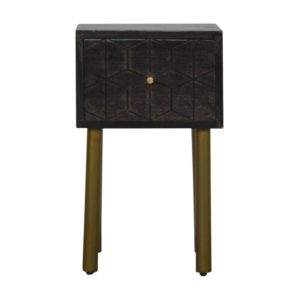 Bedside Table with Washed Black Finish