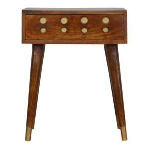 Chestnut Bedside Table with Brass Inlay