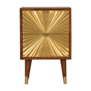 Chestnut Finish Bedside Table with Manila Gold Drawers