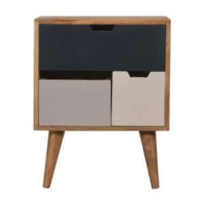 Navy & Grey Painted Bedside Table with Removable Drawers