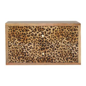 Oak-Finish Wall Mounted Bedside Table with Leopard Print Drawer