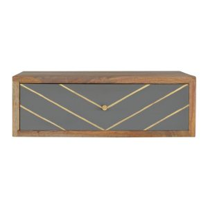 Oak-Finish Wall Mounted Bedside Table with Sleek Brass Inlay
